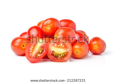 Plum tomatoes on white background
