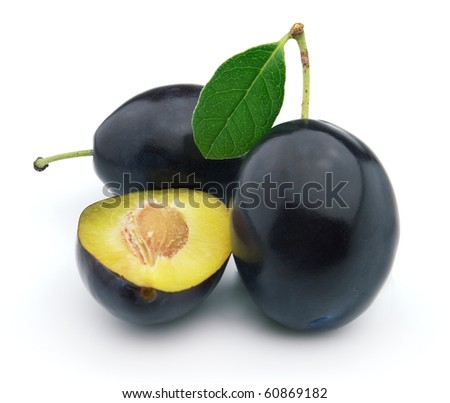 Plum with leaves - stock photo