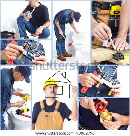 Plumber contractor with tools and details. Worker people. - stock photo