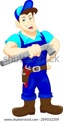 plumber holding a pipe