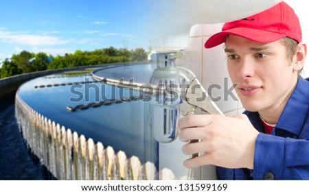 Plumber in uniform repairing old pipeline. Collage - stock photo