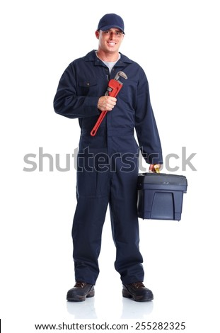 Plumber man with tools isolated over white background - stock photo