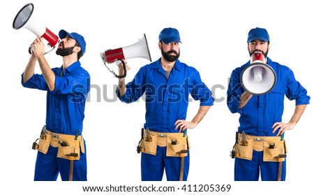 Plumber shouting by megaphone - stock photo