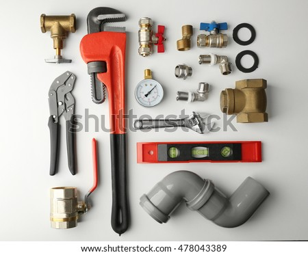 Plumber tools isolated on white