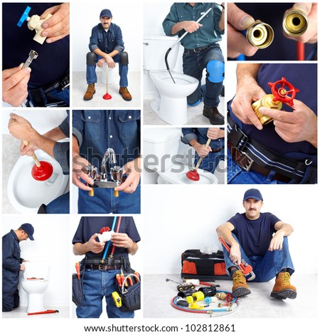 Plumber with a toilet plunger and details. Worker people - stock photo
