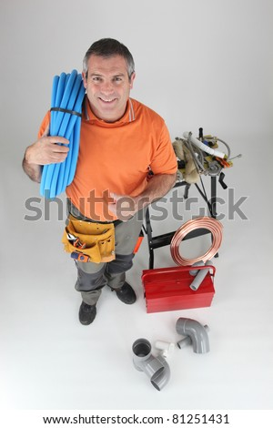 plumber with blue pipes thumb up