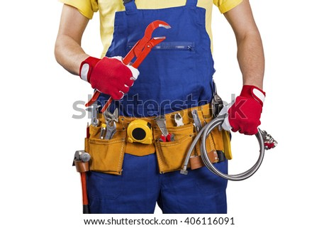 plumber with tool belt isolated on white background - stock photo