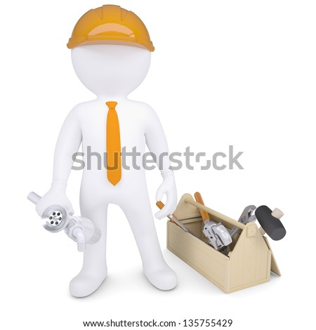 Plumber with tools and a siphon. 3d render isolated on white background - stock photo