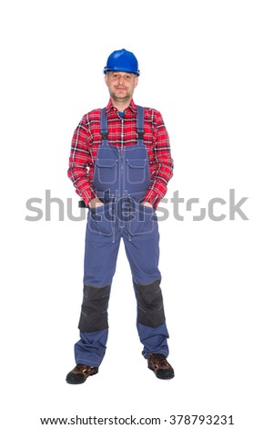 Plumber worker isolated on white