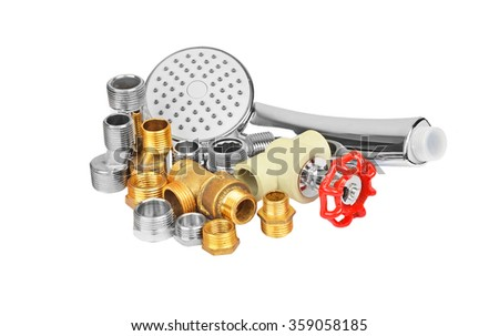 Plumbing fitting, tap and showerhead, isolated on white background
