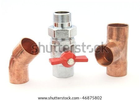Plumbing fittings and water valve isolated on white