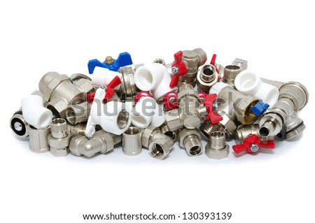 Plumbing fixtures and piping parts - stock photo
