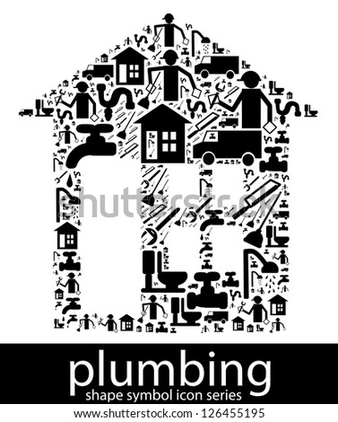Plumbing icon symbols composed in the shape of a house
