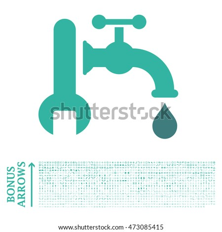 Plumbing icon with 1200 bonus arrow and navigation pictograms. Glyph illustration style is flat iconic bicolor symbols, cobalt and cyan colors, white background.