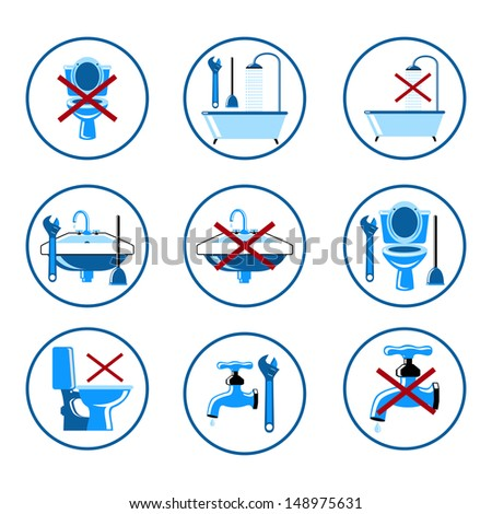 Plumbing icons set - stock photo