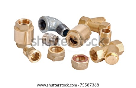 Plumbing inlet pipe valve, isolated on white background - stock photo