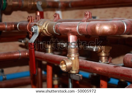Plumbing-new construction - stock photo