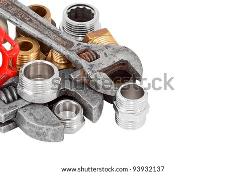 Plumbing pipe and wrench, isolated on white background - stock photo