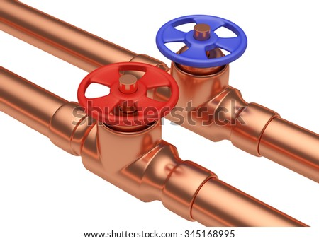 Plumbing pipeline with cold water and hot water pipes water supply system industrial construction: red valve and blue valve on two copper pipes isolated on white, diagonal view, 3D illustration - stock photo