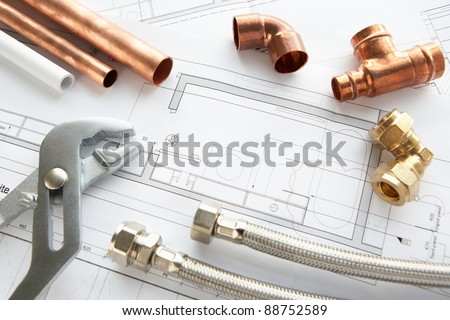 Plumbing tools and materials - stock photo
