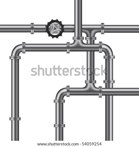 plumbing water pipelines valve isolated copy space plumbing background - stock photo