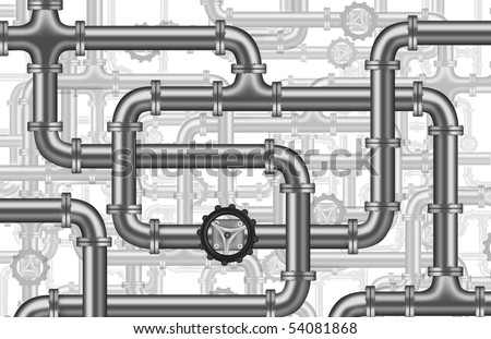 plumbing water piping pipelines tubing valve tubes plumbing background - stock photo