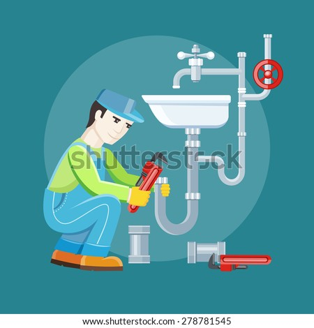 Plumbing work. Sanitary works. Plumber and wrench. Engineer character. Plumber repairing a pipe under a sink. Flat icon modern design style concept. Raster version  - stock photo