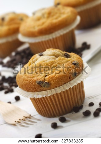 Plumcake with chocolate drops on whithe wooden table - stock photo
