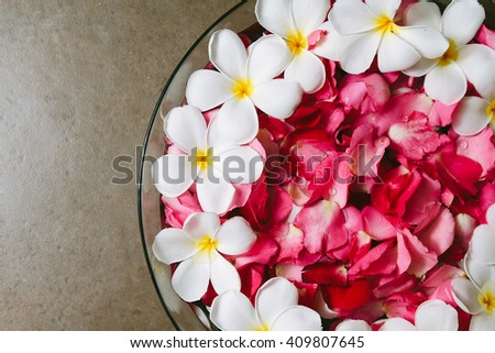 Plumeria and rose petals in the tub,Shallow depth of field with focus on Plumeria. - stock photo