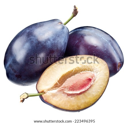 Plums and half of plum isolated on a white background. - stock photo