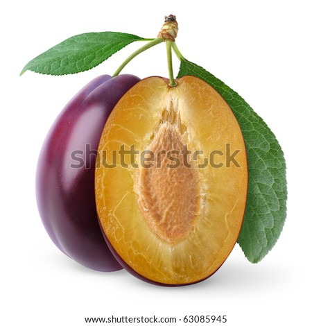 Plums isolated on white - stock photo