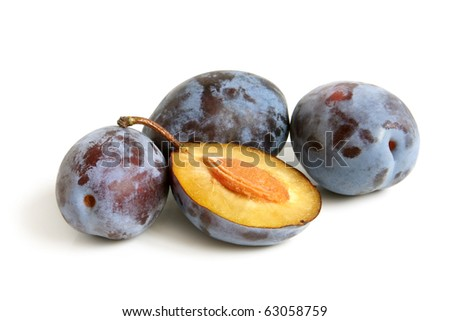 Plums on a white background - stock photo