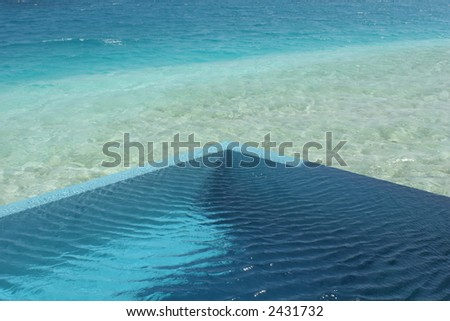 Plunge Pool and Indian Ocean - stock photo
