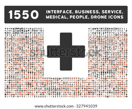 Plus icon and other web interface, business, tools, people, medical service and awards glyph symbols. Style is bicolor flat symbols, orange and gray colors, rounded angles, white background. - stock photo