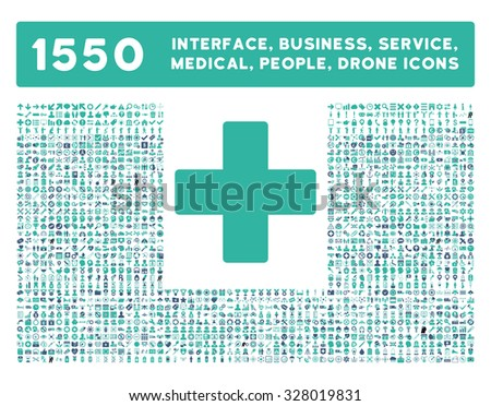 Plus icon and other web interface, business, tools, people, medical service and awards glyph symbols. Style is bicolor flat symbols, cobalt and cyan colors, rounded angles, white background. - stock photo