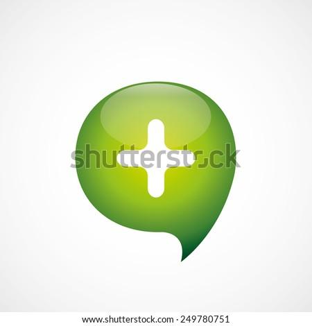 plus icon green think bubble symbol logo, isolated on white background - stock photo