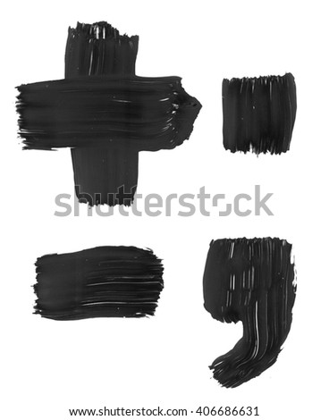 Plus minus dot comma signs. Grunge ink alphabet, isolated on white background. Hand drawn with ink.  - stock photo