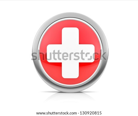 Plus or First aid icon - stock photo