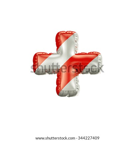 Plus. Red and white Balloon font isolated on White Background.Birthday alphabet. - stock photo