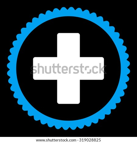 Plus round stamp icon. This flat glyph symbol is drawn with blue and white colors on a black background. - stock photo