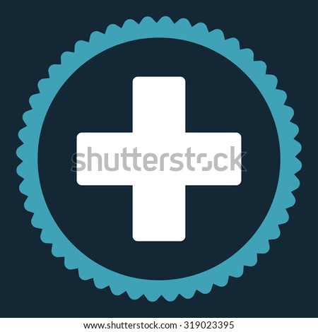 Plus round stamp icon. This flat glyph symbol is drawn with blue and white colors on a dark blue background. - stock photo