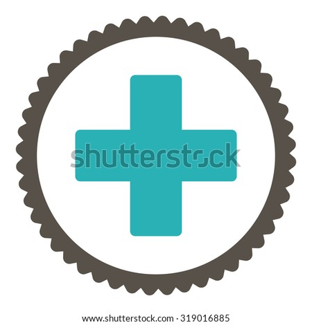 Plus round stamp icon. This flat glyph symbol is drawn with grey and cyan colors on a white background. - stock photo