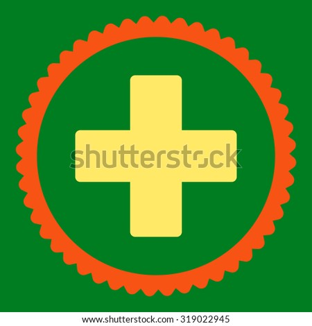 Plus round stamp icon. This flat glyph symbol is drawn with orange and yellow colors on a green background. - stock photo