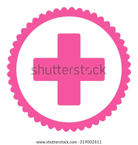 Plus round stamp icon. This flat glyph symbol is drawn with pink color on a white background. - stock photo