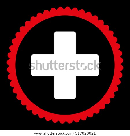 Plus round stamp icon. This flat glyph symbol is drawn with red and white colors on a black background. - stock photo
