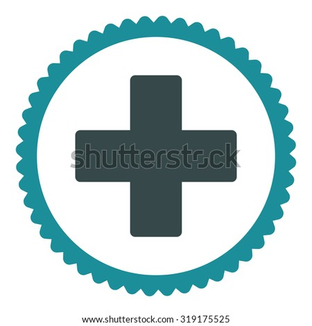 Plus round stamp icon. This flat glyph symbol is drawn with soft blue colors on a white background. - stock photo
