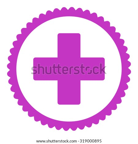 Plus round stamp icon. This flat glyph symbol is drawn with violet color on a white background. - stock photo
