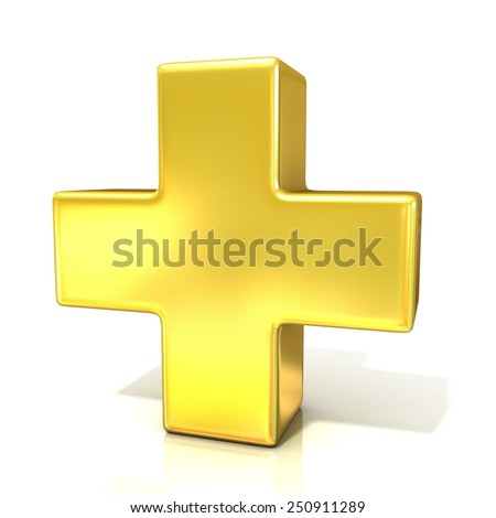 Plus sign, 3d golden sign isolated on white background - stock photo