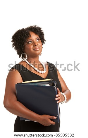 Plus Size Businesswoman Holding Binders Dream Expression Standing Isolated on White Background - stock photo