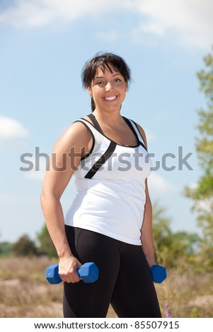 Plus Size Female Exercise Outdoor Happy Smile Under Sunny Blue Sky